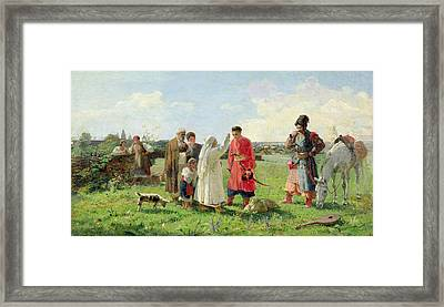 Off To The Zaporozhian Host, 1889 Oil On Canvas Framed Print