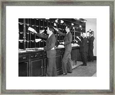 Office Men Sorting Mail Framed Print by Underwood Archives