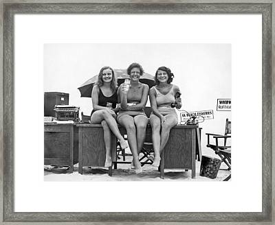 Office Moves To The Beach Framed Print by Underwood Archives