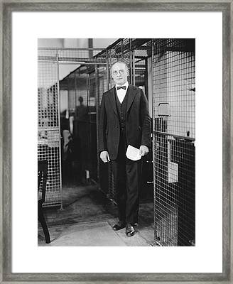 Office Wire Cubicles Framed Print by Underwood Archives