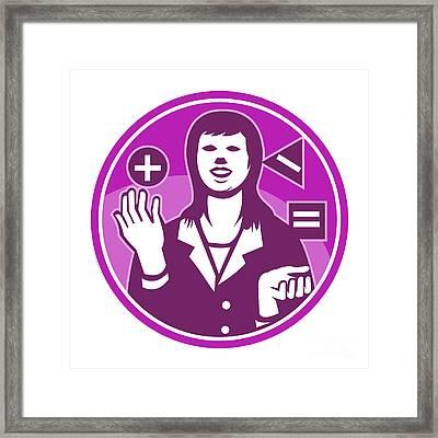 Office Worker Businesswoman Juggling Woodcut Framed Print by Aloysius Patrimonio