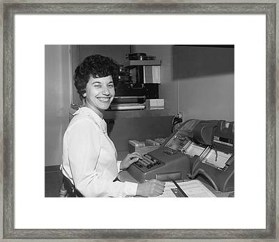 Office Worker Entering Data Framed Print by Underwood Archives