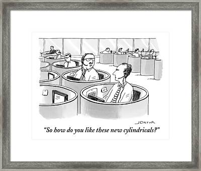 Office Workers Sit In Round Cubicles Framed Print