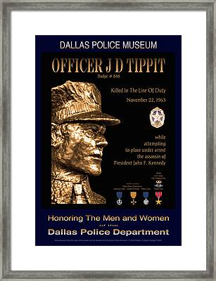 Officer J D Tippit Memorial Poster Framed Print by Robert J Sadler