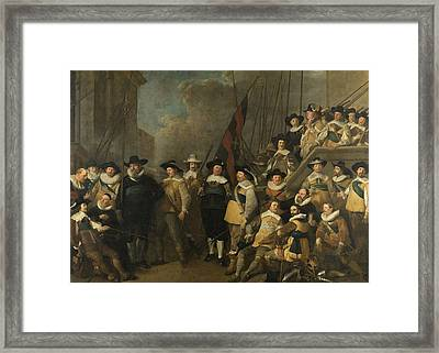 Officers And Other Marksmen Of The V District In Amsterdam Framed Print by Litz Collection
