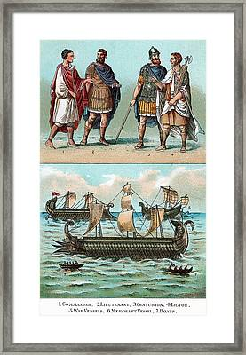 Officers And Ships Of Ancient Roman Framed Print