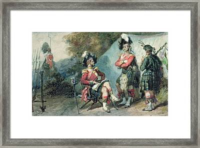 Officers Of The 79th Highlanders At Chobham Camp In 1853 Framed Print