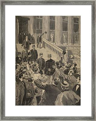Officers Triumphal Shouts At The Exit Framed Print