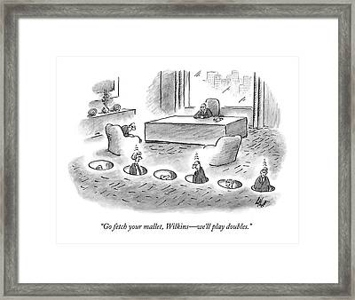 Officeworkers In Holes Framed Print by Frank Cotham