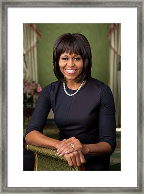 Official Portrait Of First Lady Michelle Obama Framed Print by Celestial Images