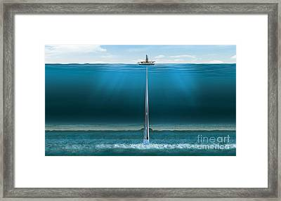 Offshore Gas Extraction, Artwork Framed Print by Claus Lunau