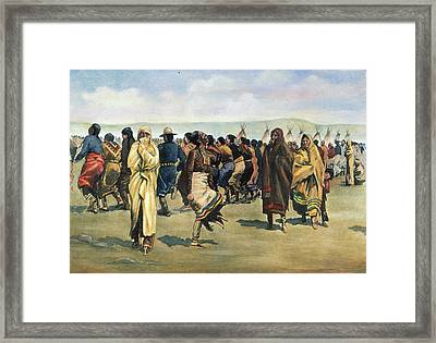 Ogalala Sioux Ghost Dance At The Pine Framed Print