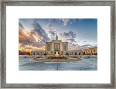 Ogden Temple Fountain Framed Print