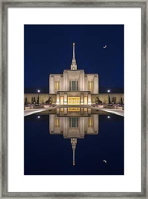 Ogden Temple Reflection Framed Print by Dustin  LeFevre