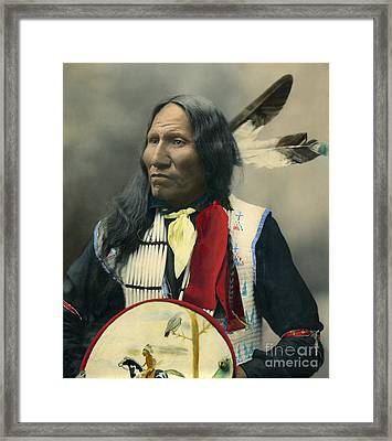 Framed Print featuring the photograph Oglala Chief Strikes With Nose 1899 by Heyn Photo