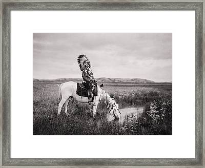 Oglala Indian Man Circa 1905 Framed Print by Aged Pixel
