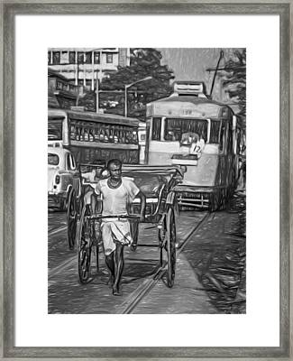 Oh Calcutta - Paint Bw Framed Print by Steve Harrington