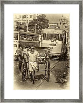 Oh Calcutta - Paint Sepia Framed Print by Steve Harrington
