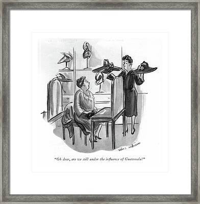 Oh Dear, Are We Still Under The In?uence Framed Print by Helen E. Hokinson