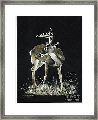 Framed Print featuring the painting Oh Deer.....listen by DiDi Higginbotham