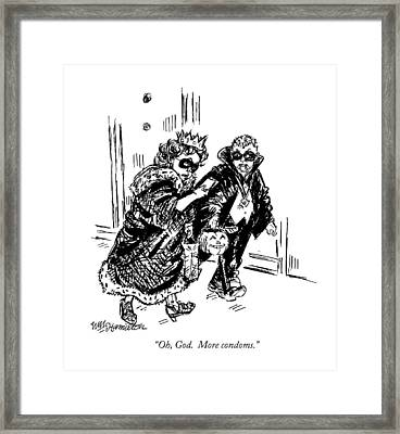 Oh, God.  More Condoms Framed Print by William Hamilton