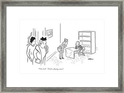 Oh, Look! They're Playing Store Framed Print by  Alain