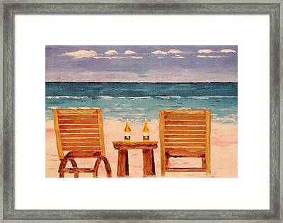 Two Corona's And A Beach Framed Print