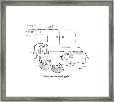 Oh No, Not Homework Again Framed Print by Arnie Levin