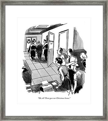 Oh, Oh! There Goes Our Christmas Bonus Framed Print by Barney Tobey
