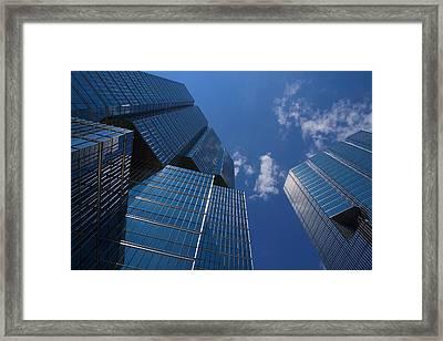 Oh So Blue - Downtown Toronto Skyscrapers Framed Print by Georgia Mizuleva