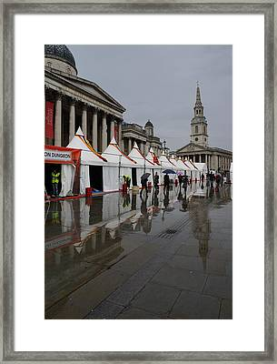 Oh So London - Rain Puddles And Reflections Framed Print by Georgia Mizuleva