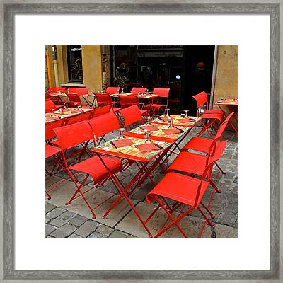 Oh Those French Cafes Framed Print by Kirsten Giving