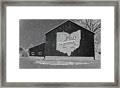 Ohio Barn In Winter Framed Print by Dan Sproul