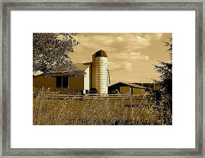 Ohio Farm In Sepia Framed Print by Frozen in Time Fine Art Photography