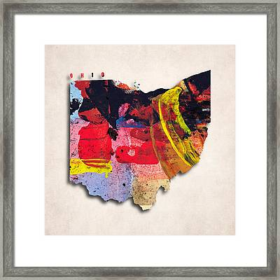 Ohio Map Art - Painted Map Of Ohio Framed Print by World Art Prints And Designs
