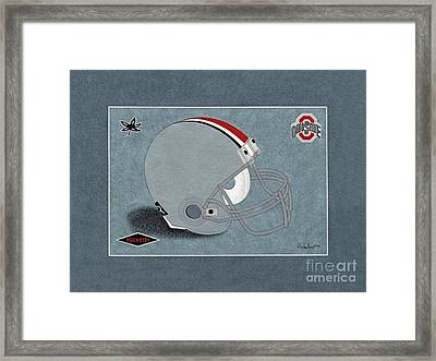 Ohio Buckeyes Helmet T-shirt  Framed Print by Herb Strobino