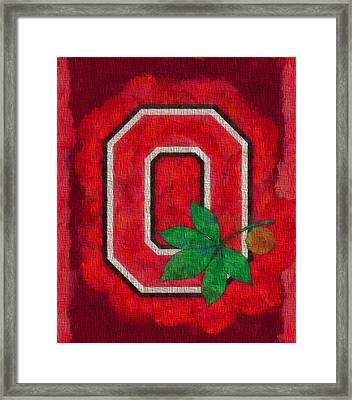 Ohio State Buckeyes On Canvas Framed Print by Dan Sproul