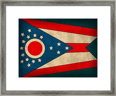 Ohio State Flag Art On Worn Canvas Framed Print by Design Turnpike