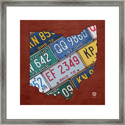 Ohio State Map Made Using Vintage License Plates Framed Print