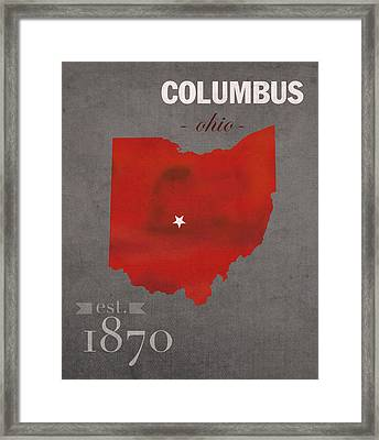 Ohio State University Buckeyes Columbus Ohio College Town State Map Poster Series No 005 Framed Print