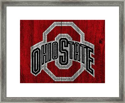 Ohio State University On Worn Wood Framed Print