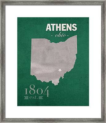 Ohio University Athens Bobcats College Town State Map Poster Series No 082 Framed Print