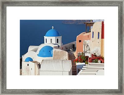 Oia, Santorini, Cyclades Islands, Greece Framed Print by Peter Adams