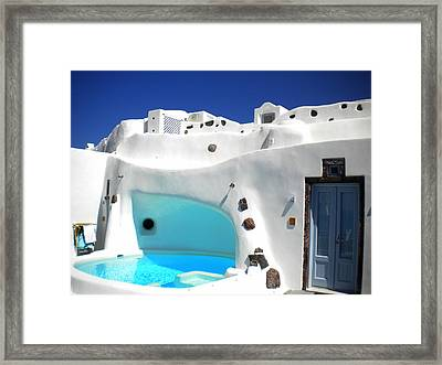 Oia Santorini  With Direct View To The Oceon Greece Framed Print