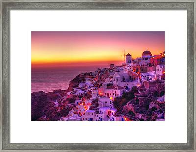 Oia Sunset Framed Print by Midori Chan
