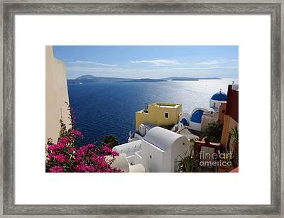 Oia Village In Santorini Island  Framed Print