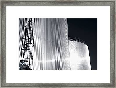Oil And Fuel Industry At Sundown Framed Print by Christian Lagereek