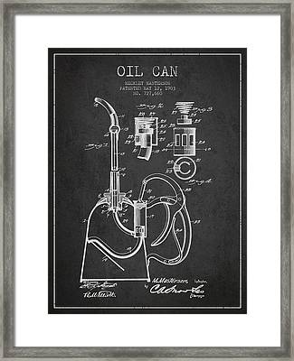Oil Can Patent From 1903 - Dark Framed Print