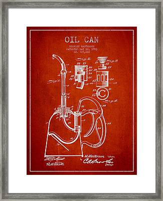 Oil Can Patent From 1903 - Red Framed Print