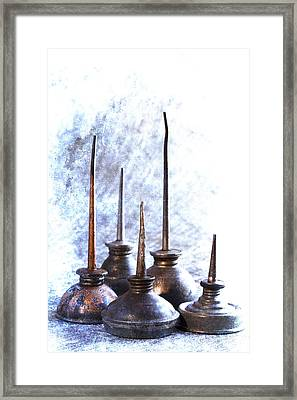 Oil Cans Framed Print by Carol Leigh